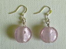 Glass foil bead earrings